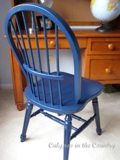 Chair painted Benjamin Moore Deep Royal