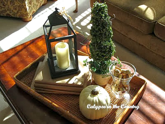Coffee Table Vignette for fall