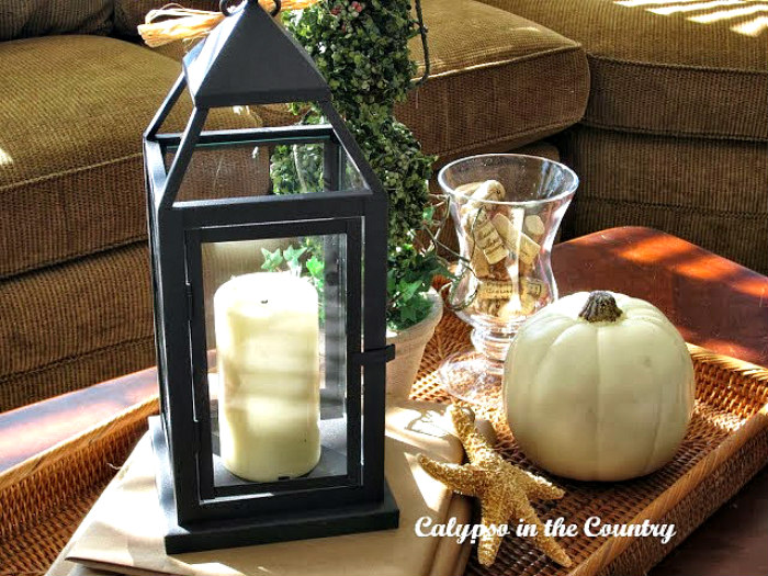 Coffee Table Fall Vignette – {Pottery Barn Inspired}
