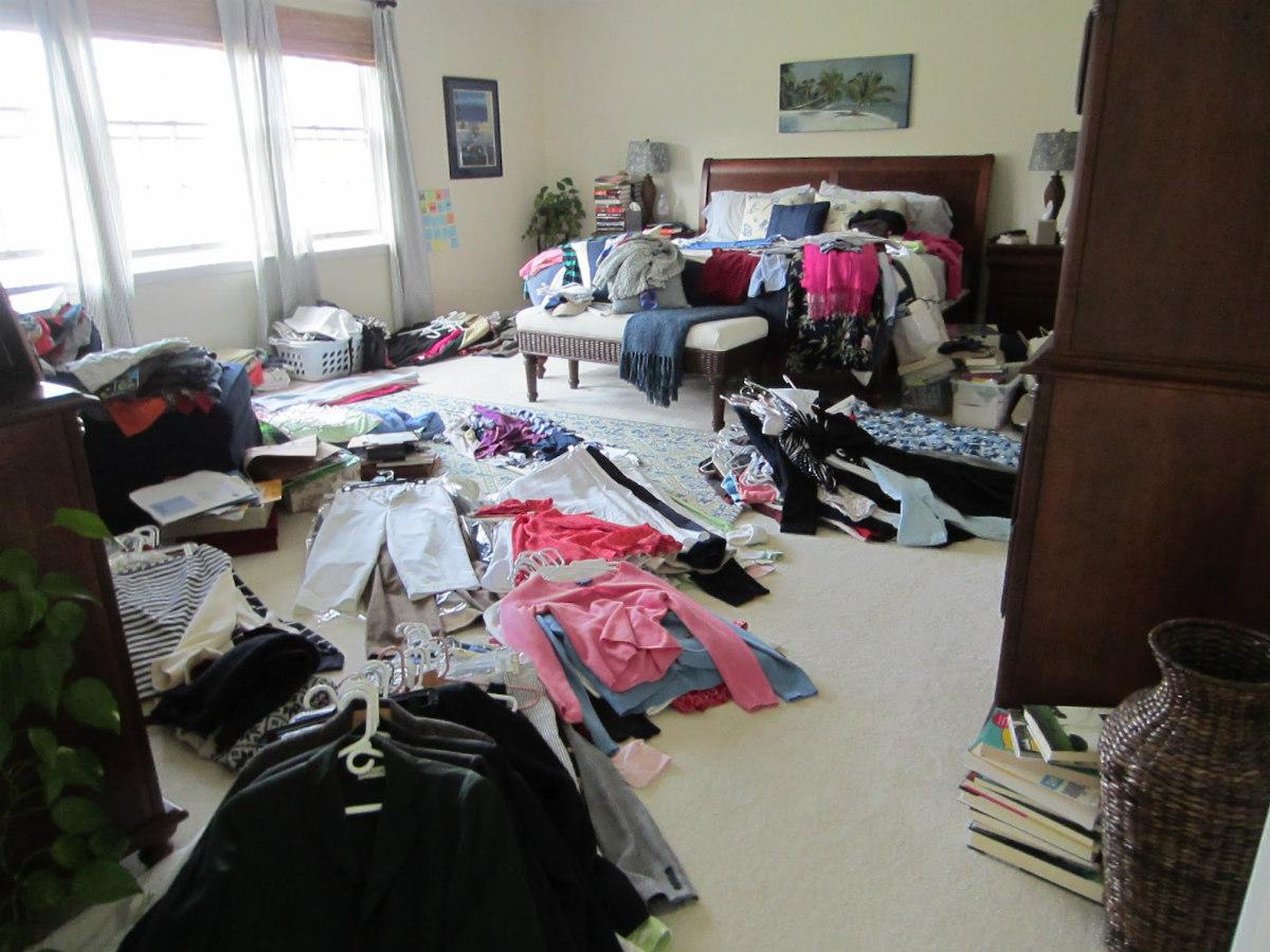 clothing on bedroom floor