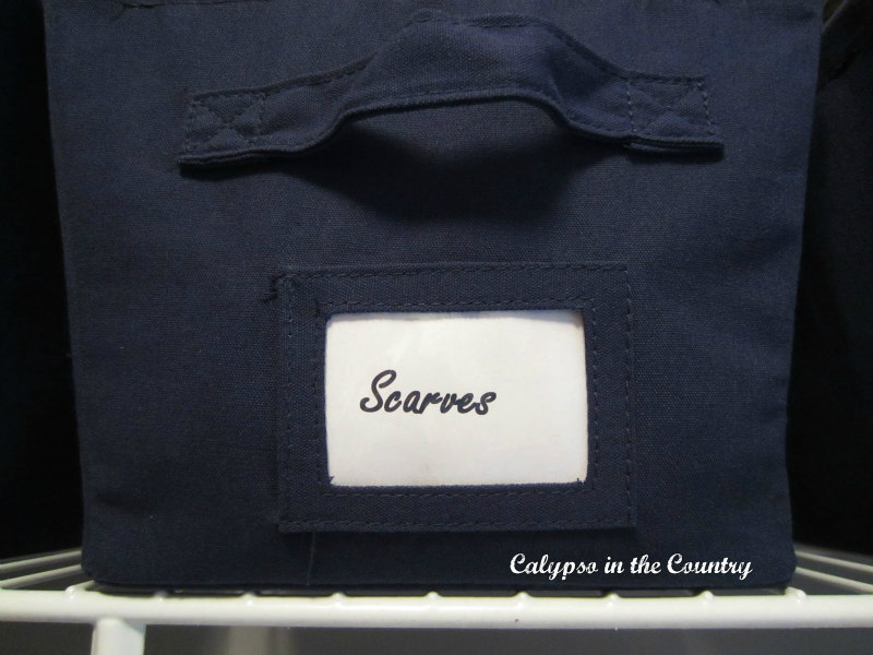 navy storage bin with label