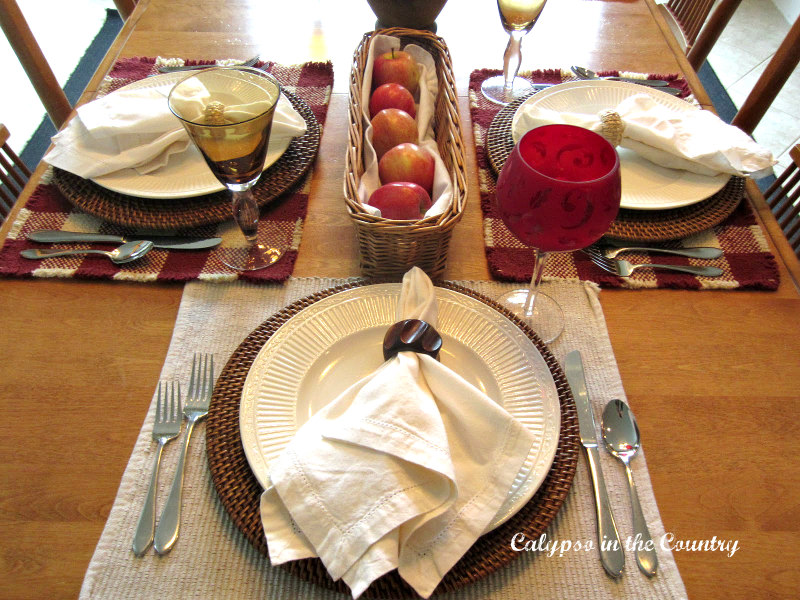 fall place setting with apples