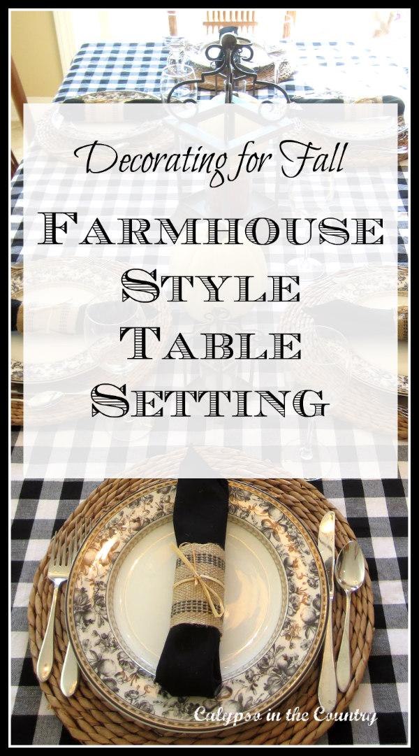 black and white farmhouse style table setting
