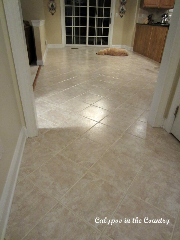 clean tile grout in kitchen
