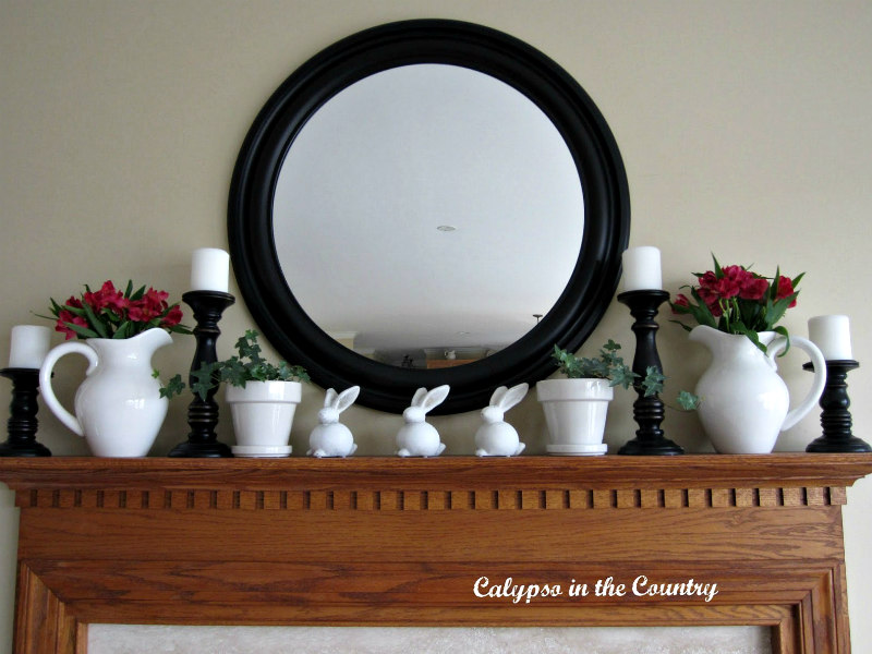 spring mantel with round mirror above