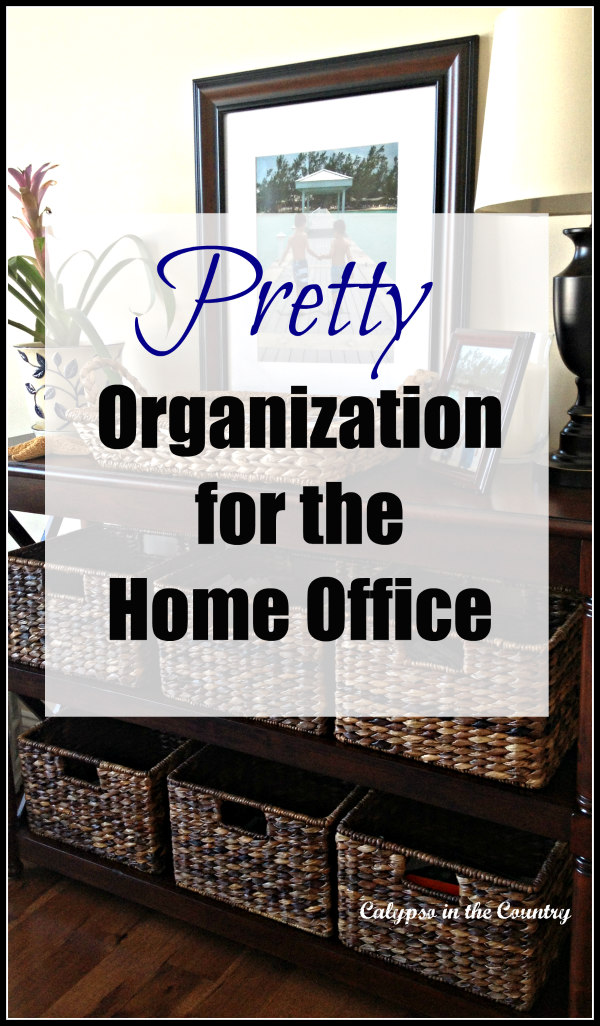 Organization baskets for the home office - a pretty way to hide all the clutter and paperwork.