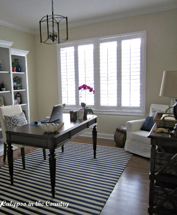 home office reveal with striped rug