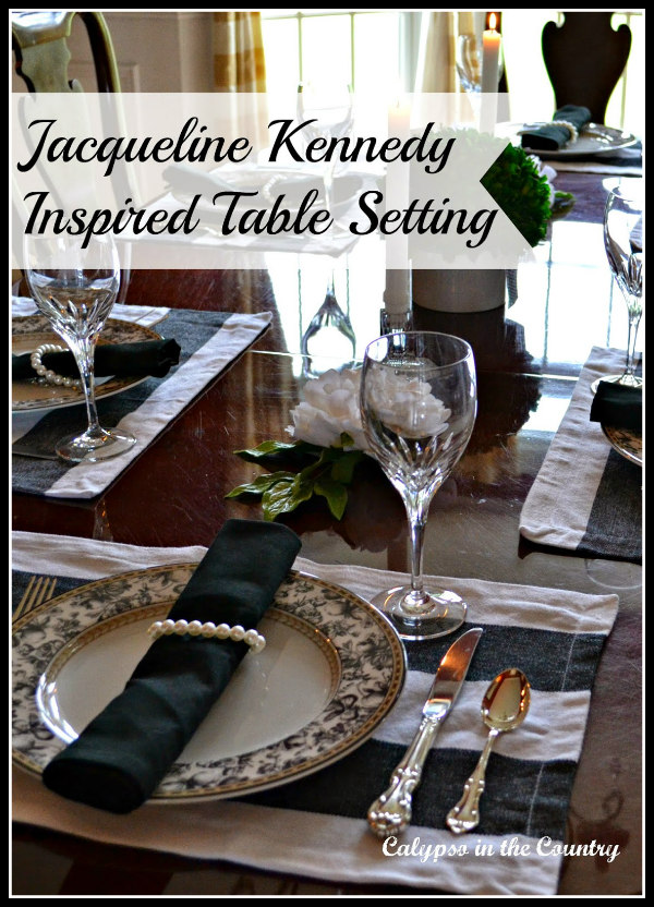 Black and White Jackie Kennedy Inspired Table Setting