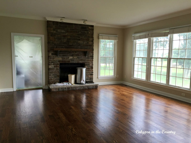 Red oak floors with Minwax Provincial Stain in Family room
