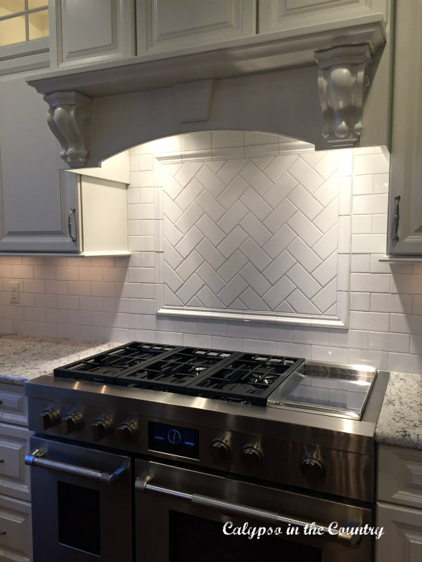 Subway Tile Backsplash - Herringbone Pattern over Stove