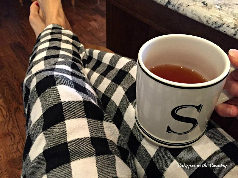 black and white checked pajamas
