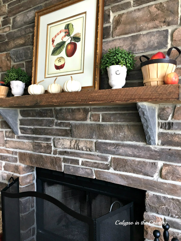 Stone Fireplace with apples and pumpkins