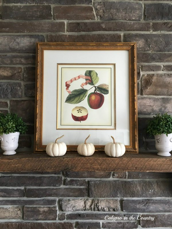 Fall Mantel with Apples and White Pumpkins