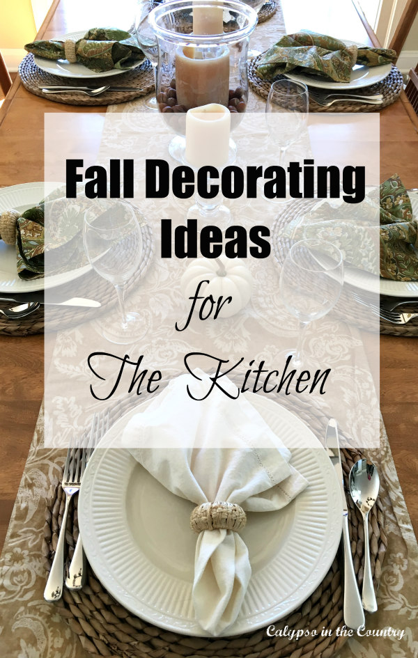 Fall Decorating Ideas in the kitchen using white pumpkins
