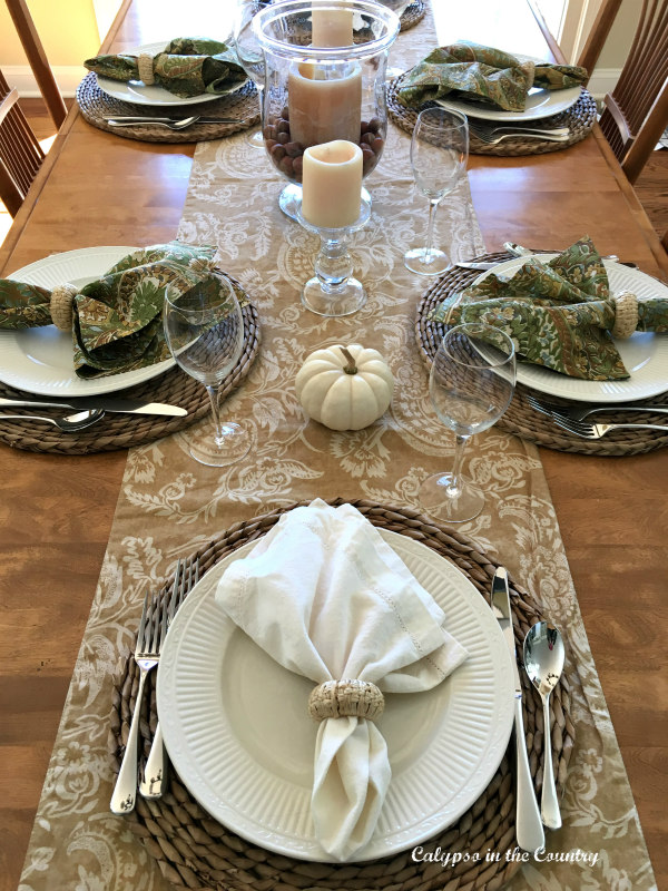 Fall Table setting with neutral colors