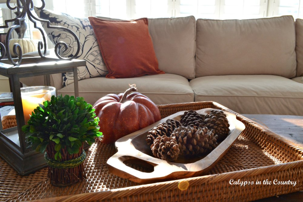 Simple Fall Vignette and a Couple Pillow Options