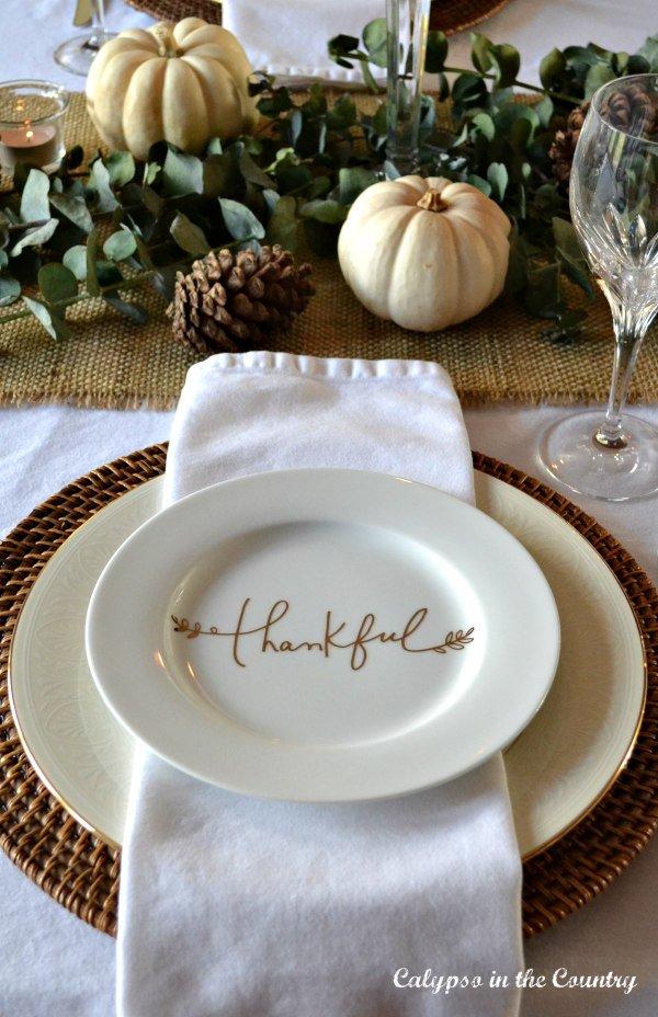 Elegant Thanksgiving Table Setting with White Pumpkins