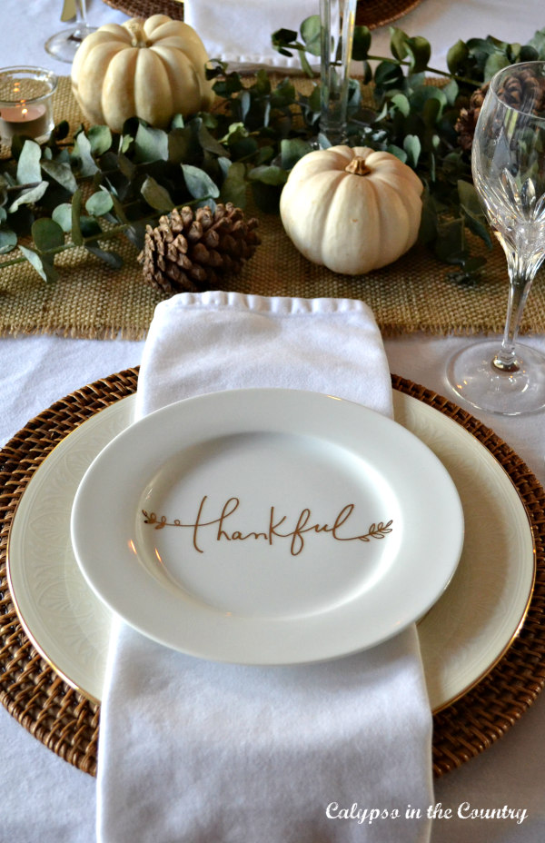 Thankful plate - Thanksgiving dinner table setting