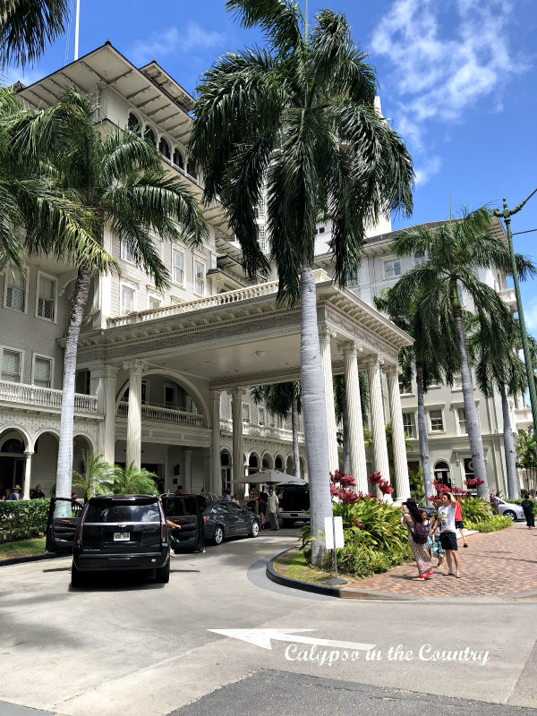 Moana Surfrider Resort and Spa entrance - a historic hotel in Waikiki