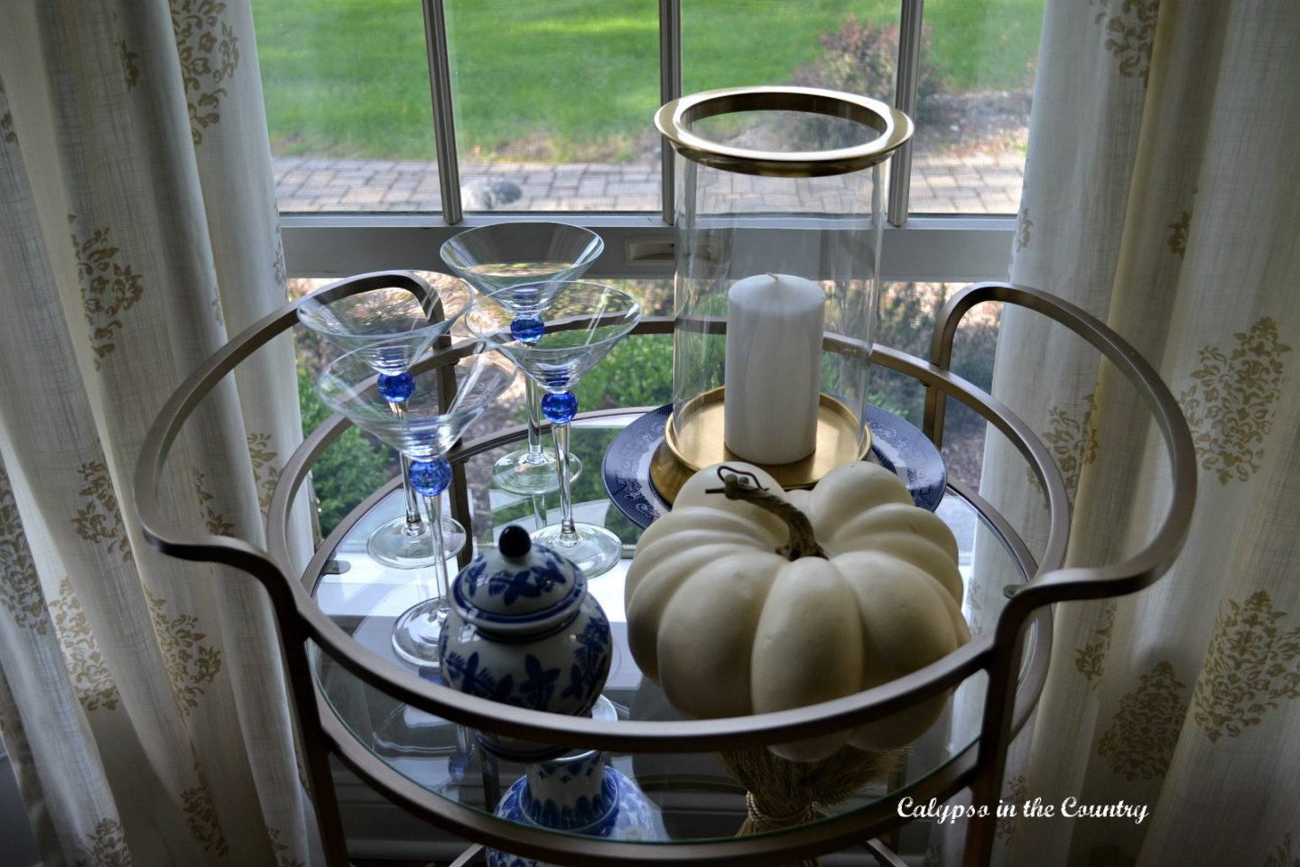 How to decorate a gold bar cart for fall