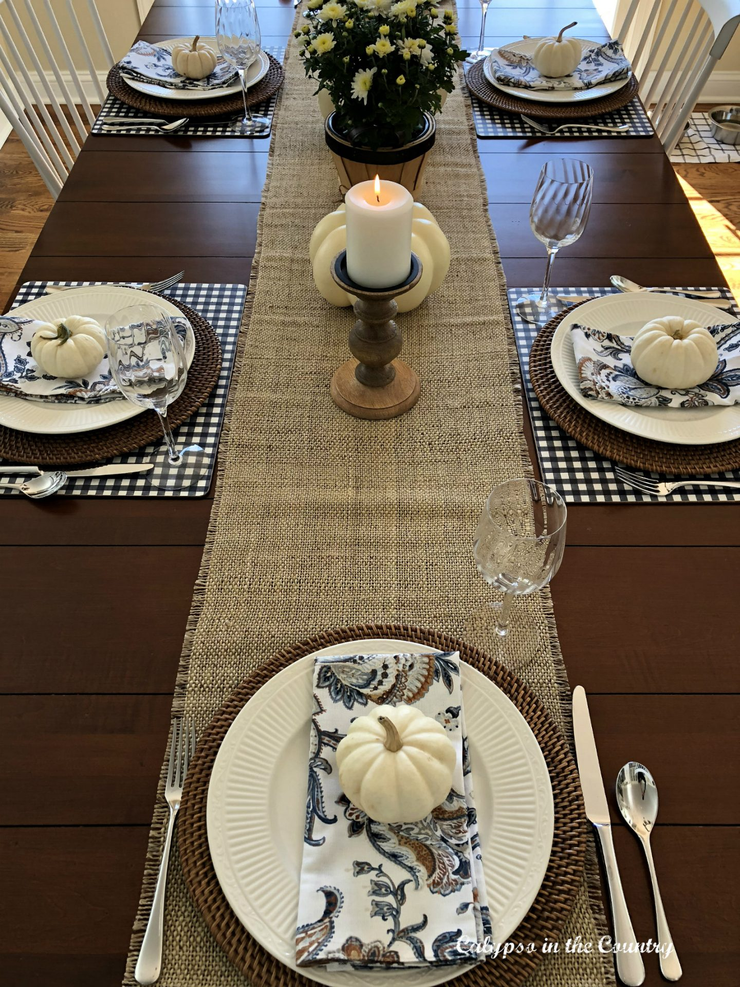 Top view of kitchen table with burlap runner