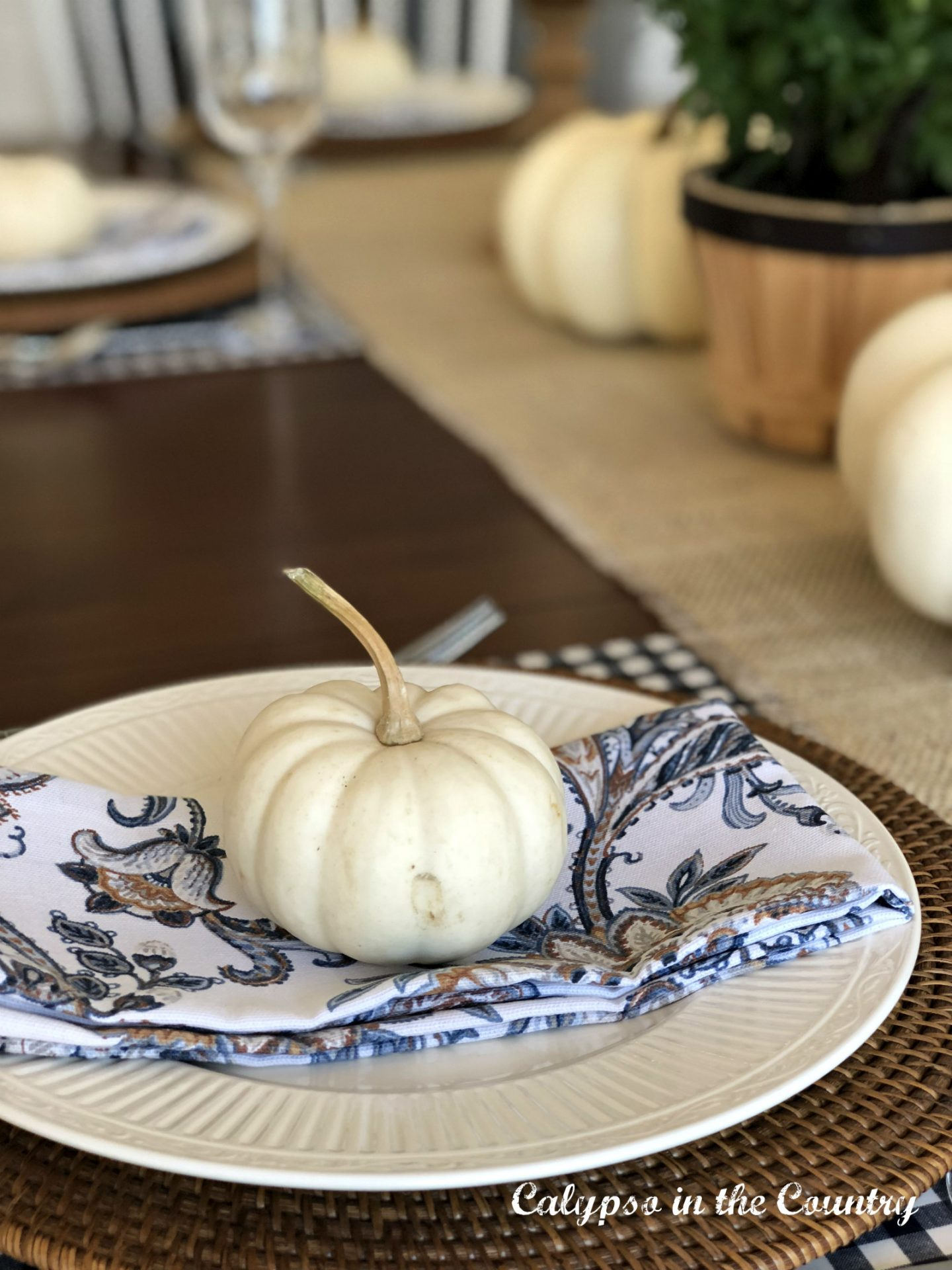 Simple Fall Table with White Pumpkins on place settings