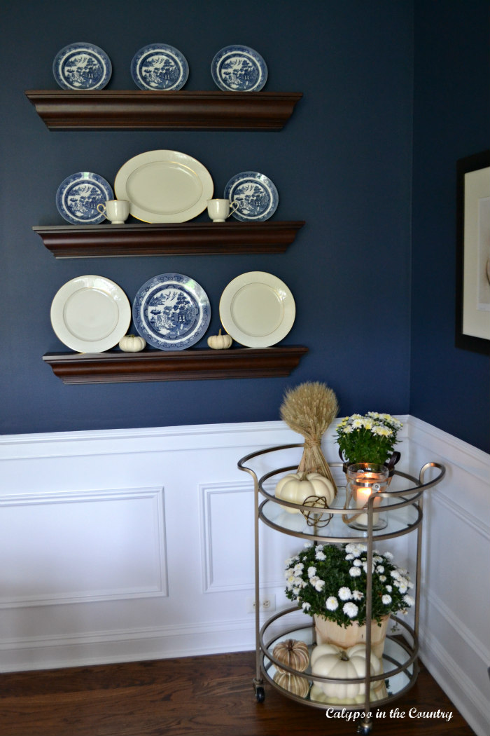 Navy Dining Room with fall decor