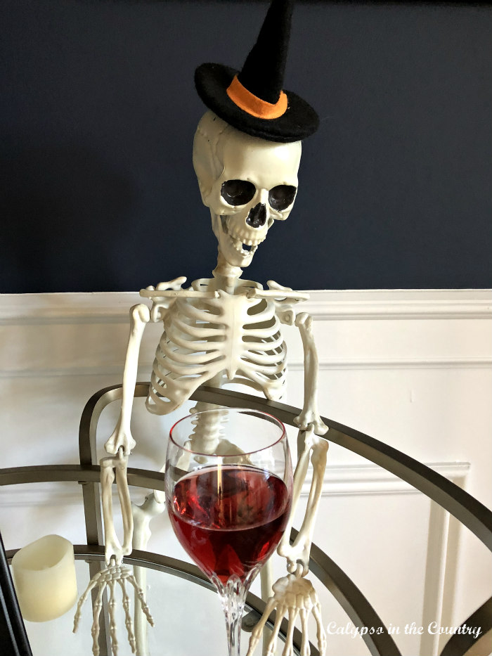 Decorating a bar cart for Halloween