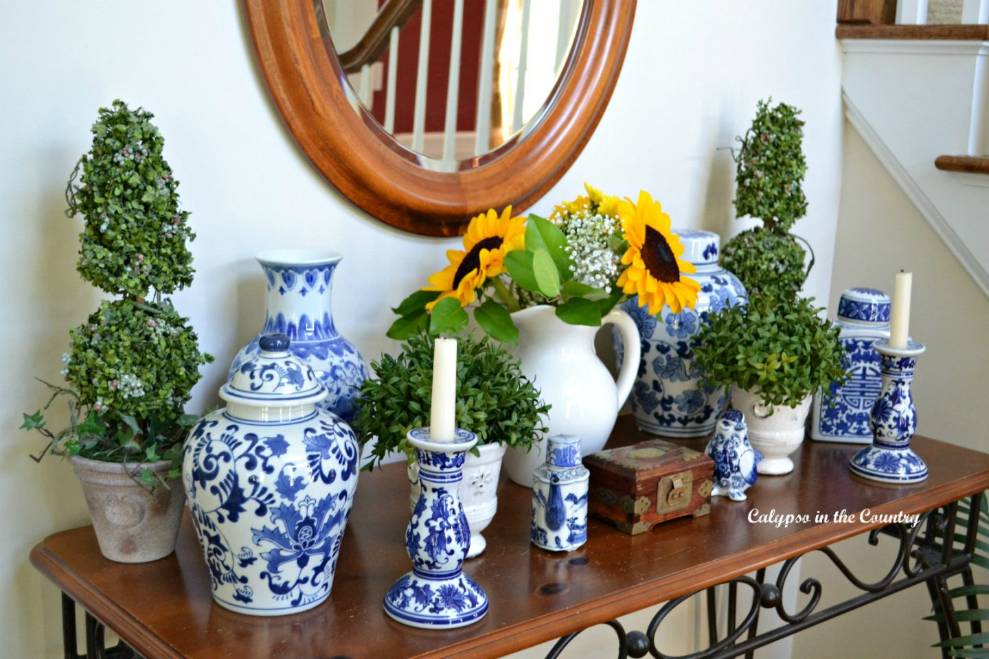 Sunflowers in the fall added to blue and white porcelain