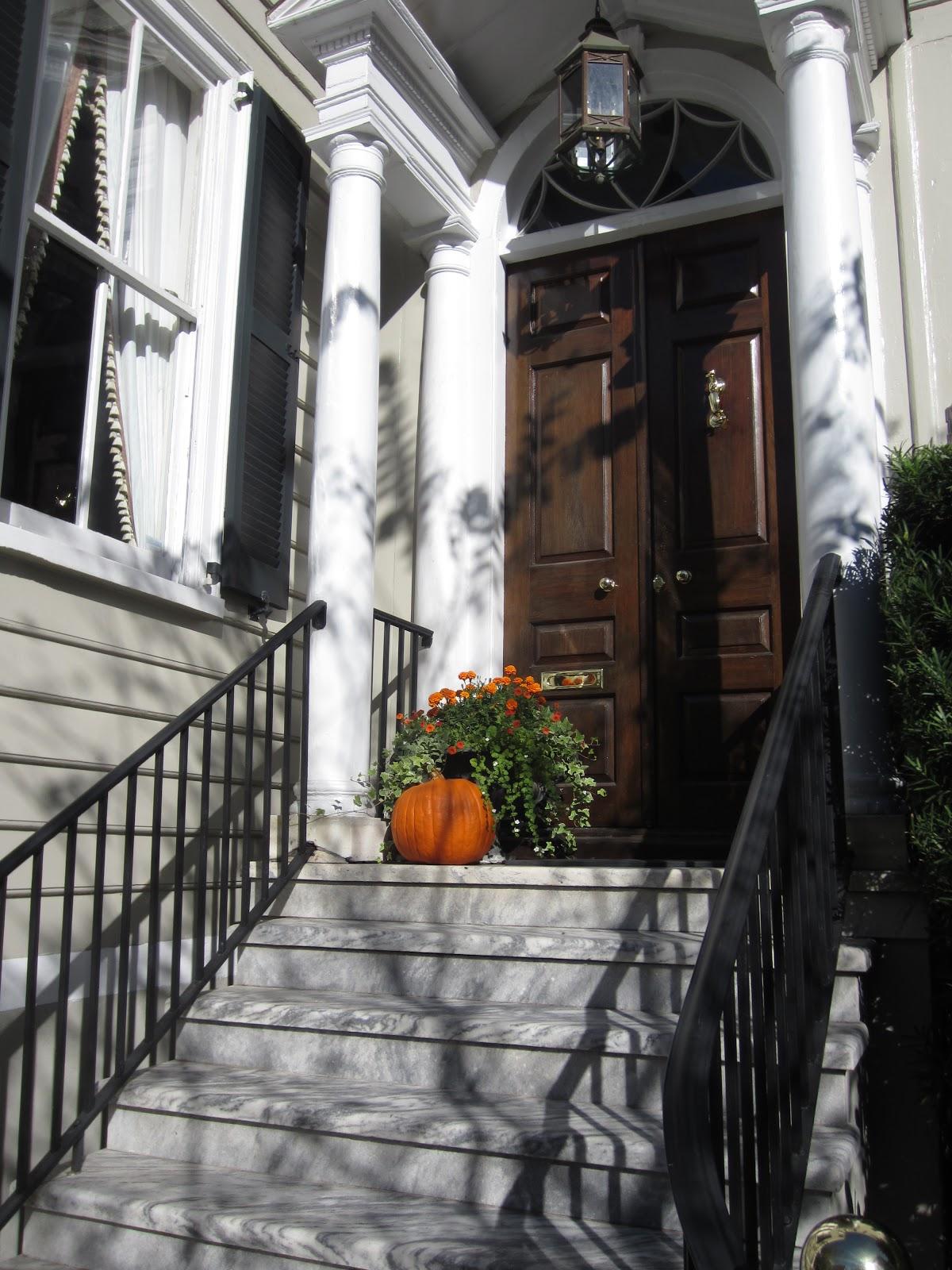 Simple Fall Porch with Orange Pumpkin