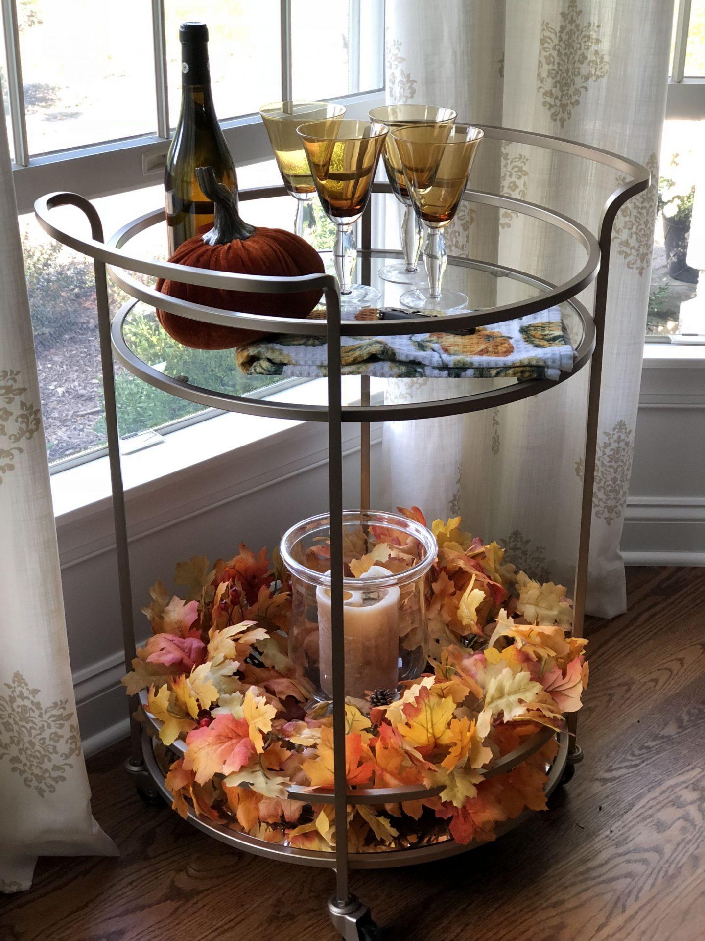 Festive gold bar cart styled for fall