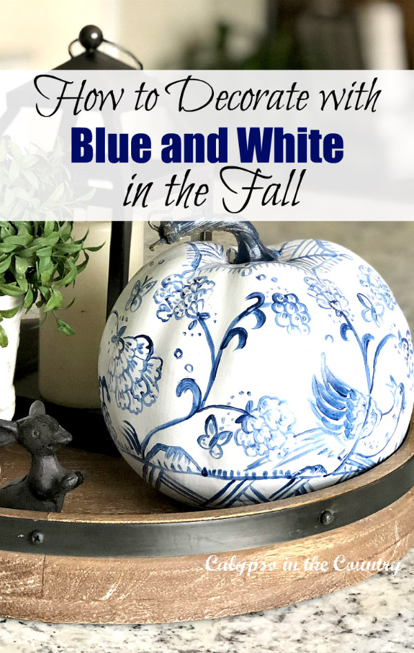 Blue and White Pumpkin and other ways to decorate with blue and white in the fall
