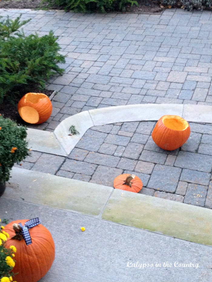 Orange pumpkins on front porch after the deer left