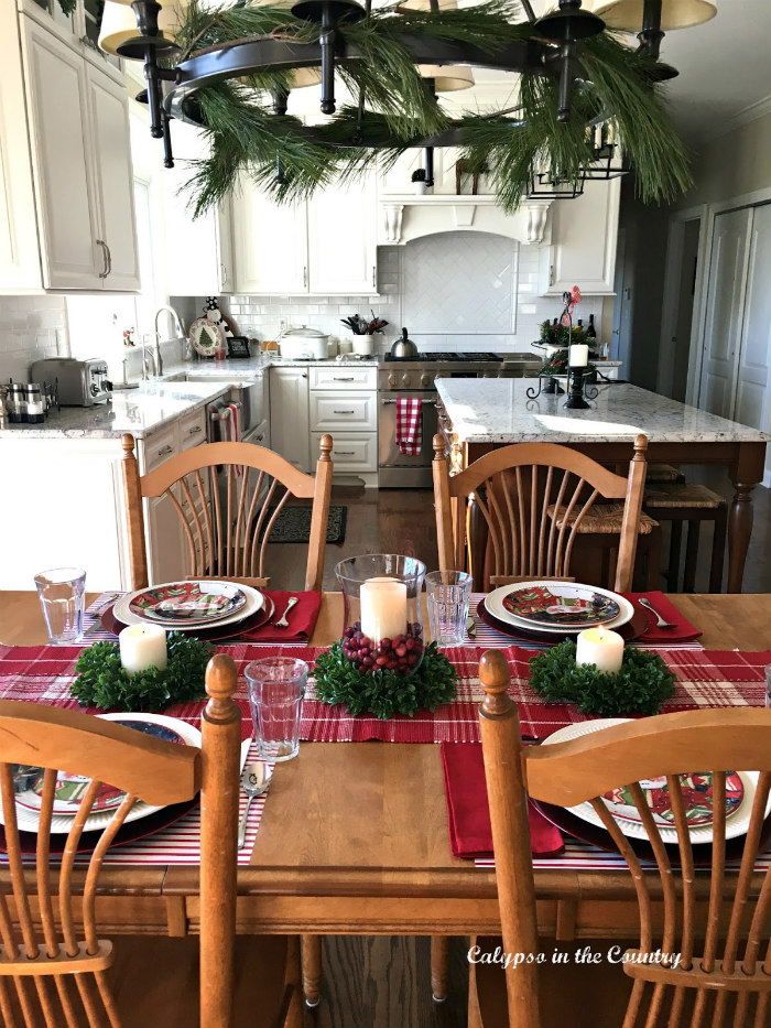 Colorful Christmas Table in Kitchen
