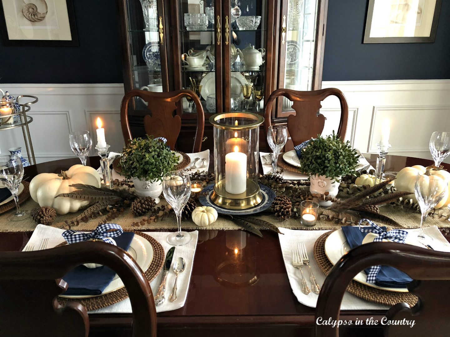 Thanksgiving Table with blue and white