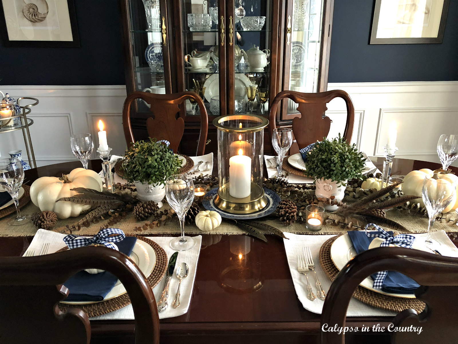 Thanksgiving Table Setting in a Navy Dining Room