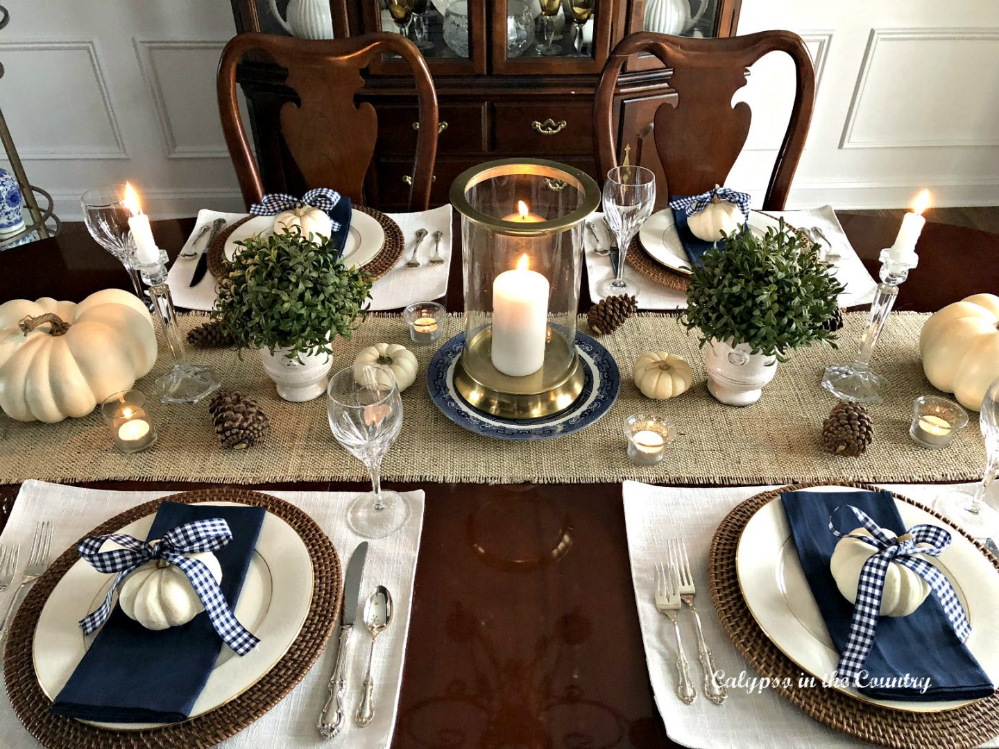 Simple Thanksgiving Table setting with navy and neutrals