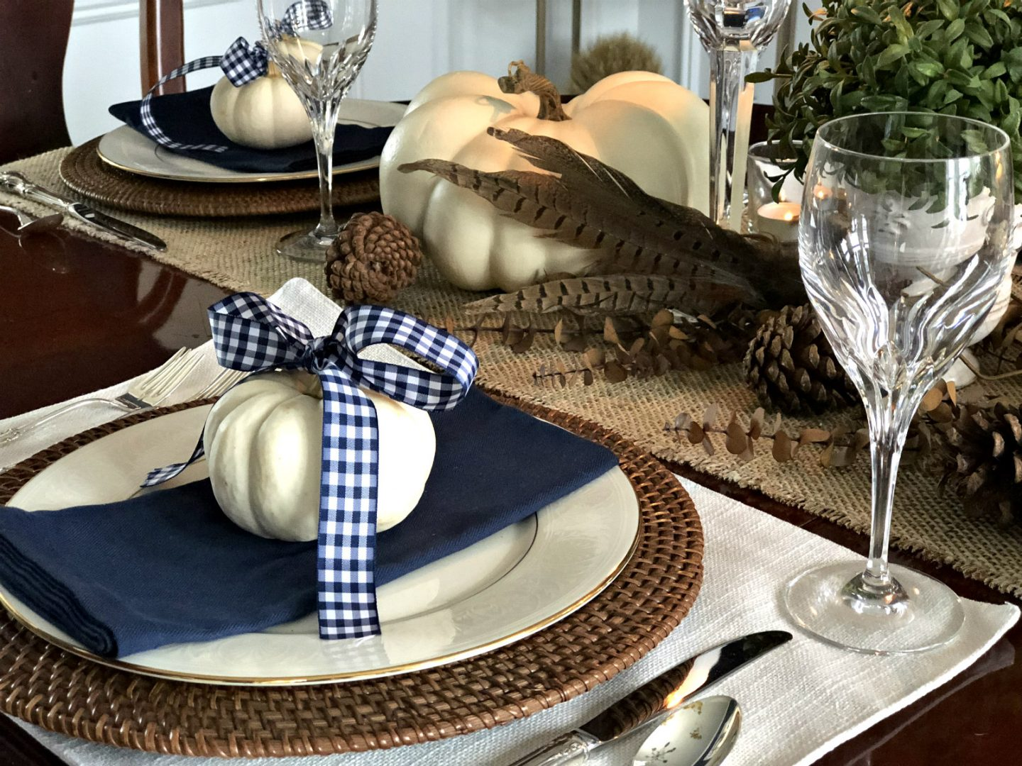 Thanksgiving place setting with crystal and silver