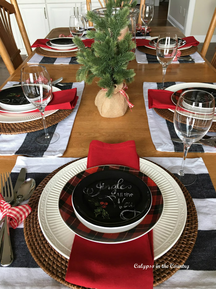 Christmas Table with Chalkboard style dishes