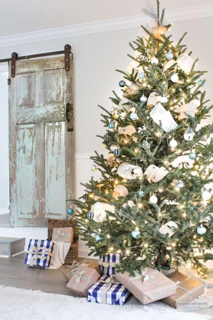 christmas tree and barn door