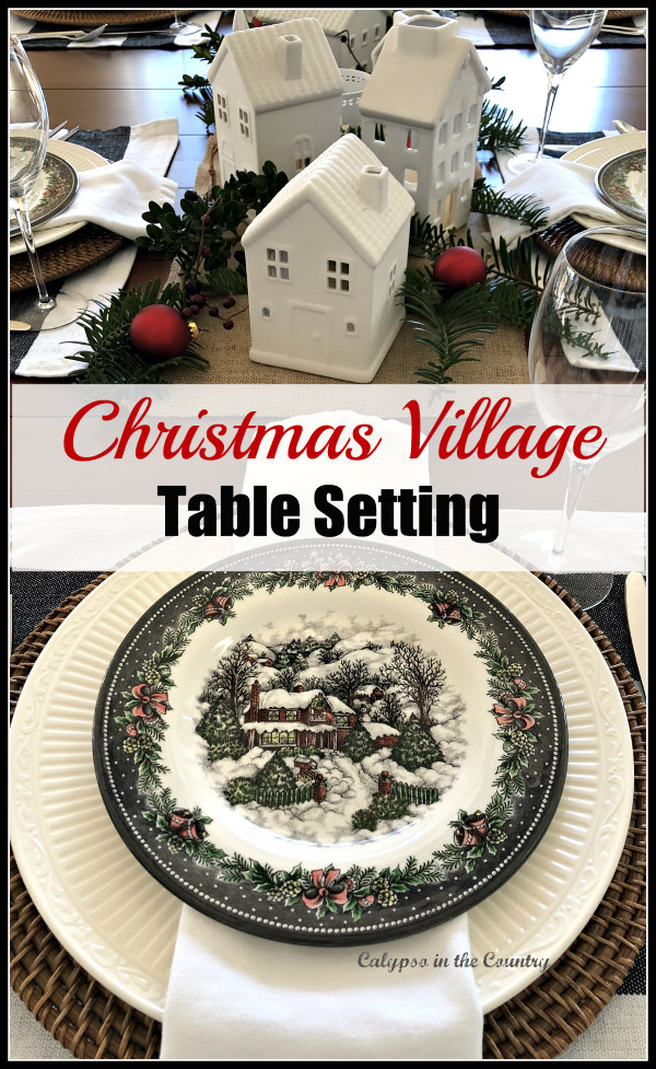 Christmas Village Table Setting - Ideas to set a black and white table with ceramic houses as the centerpiece.