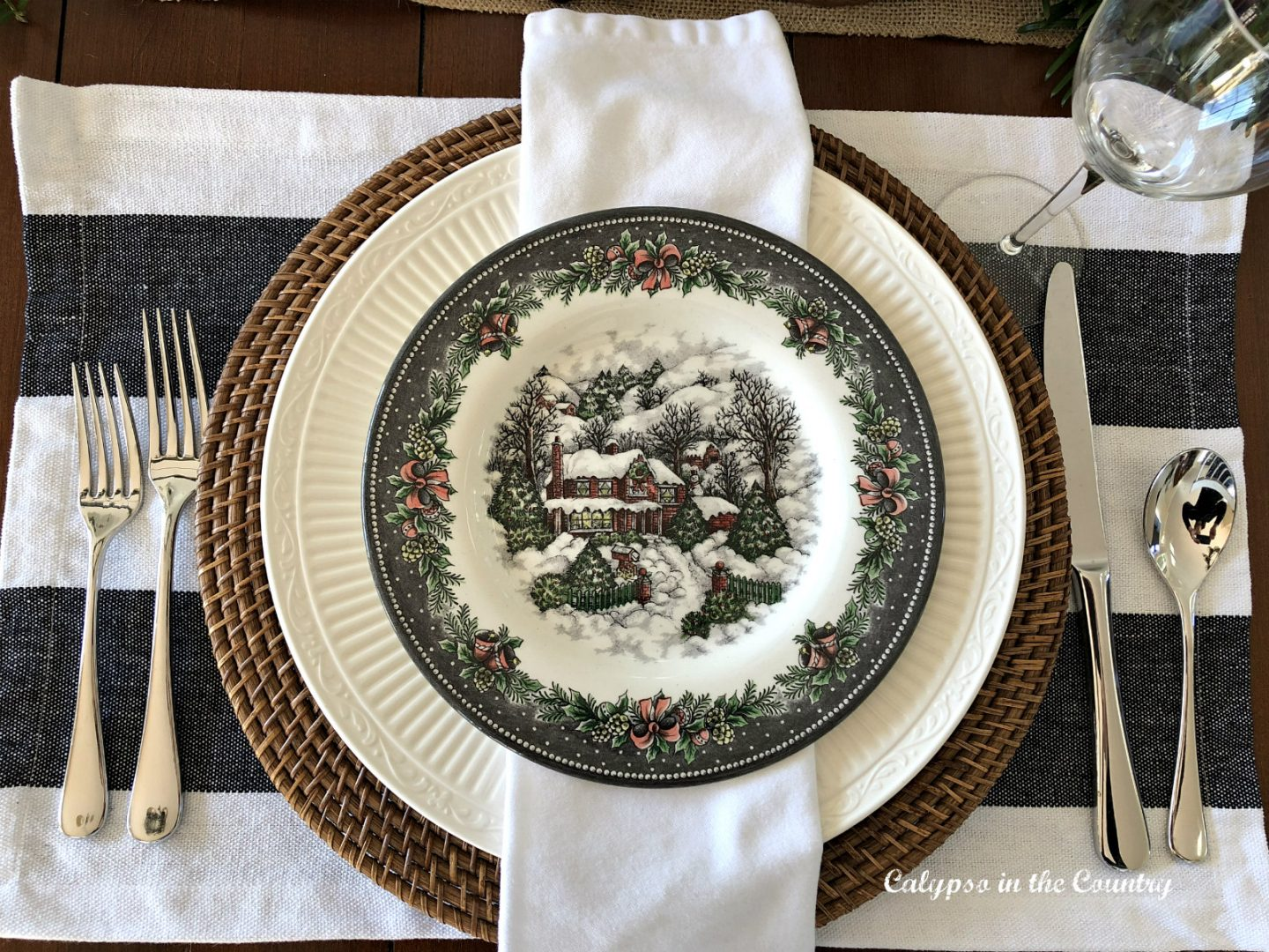 Christmas place setting idea with snow village plates