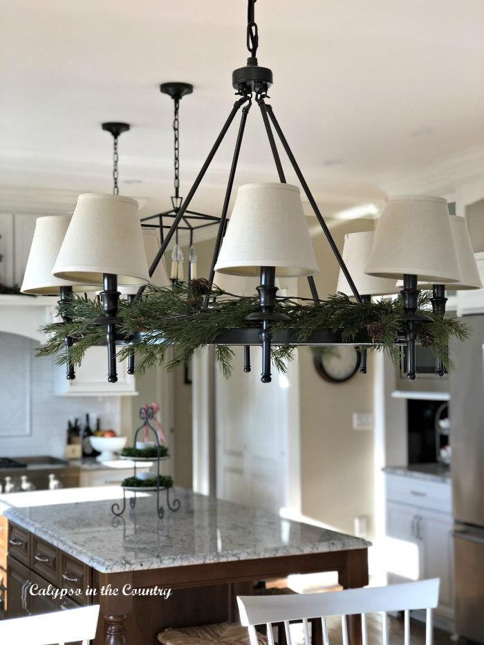 christmas chandelier with faux greens - easy way to decorate