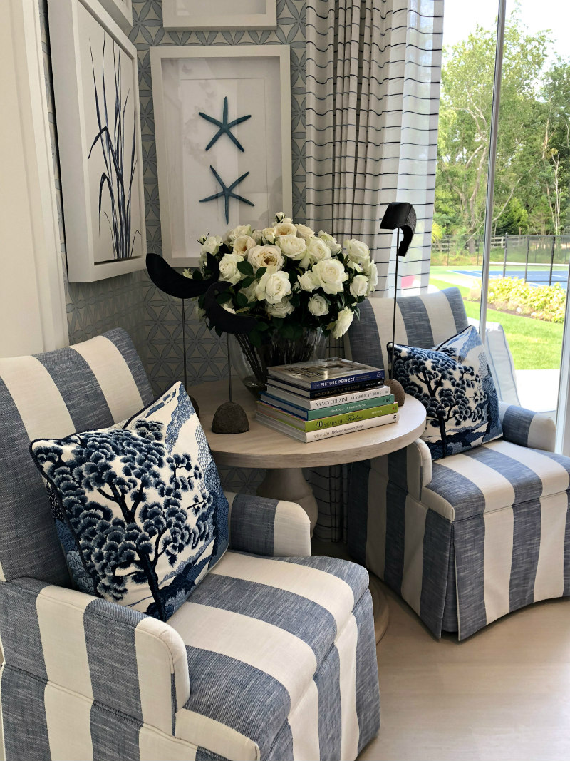 Blue and White Striped Chairs