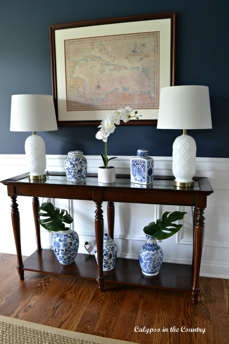 navy dining room with console table