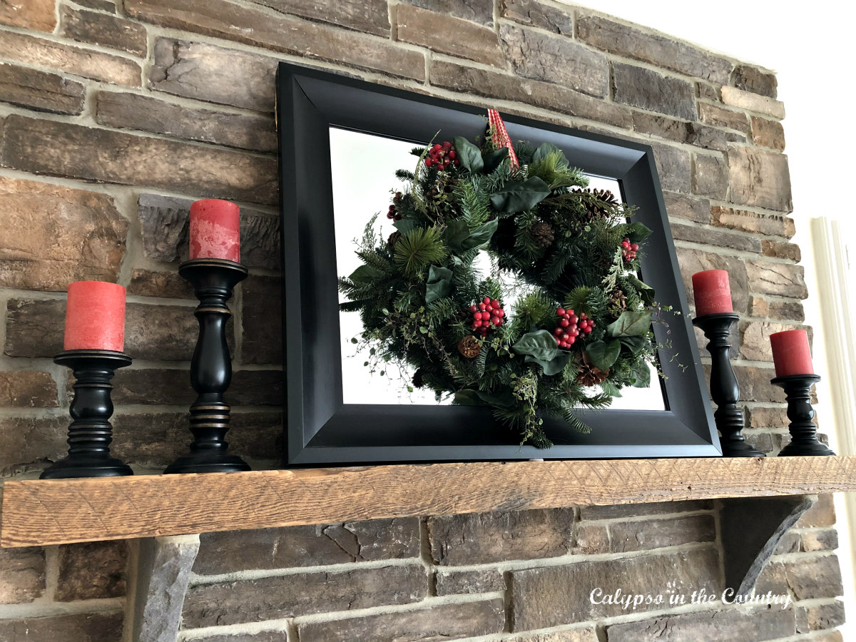 Christmas Wreath on Fireplace