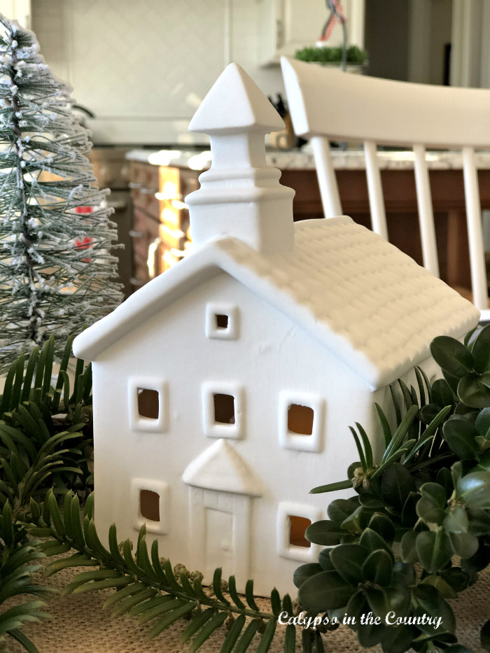 White Ceramic Church for Christmas table centerpiece