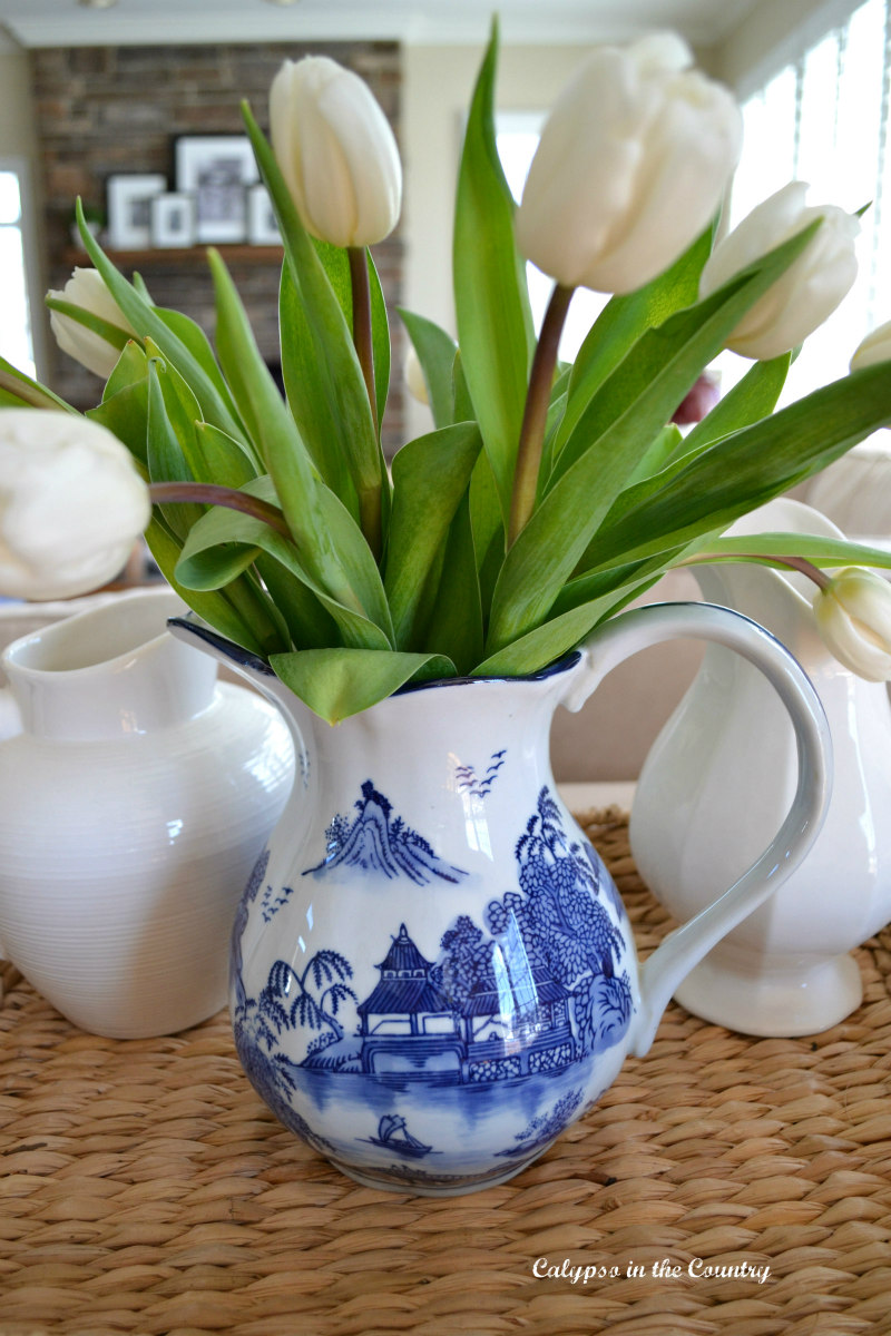 tulips with blue and white porcelain pitcher