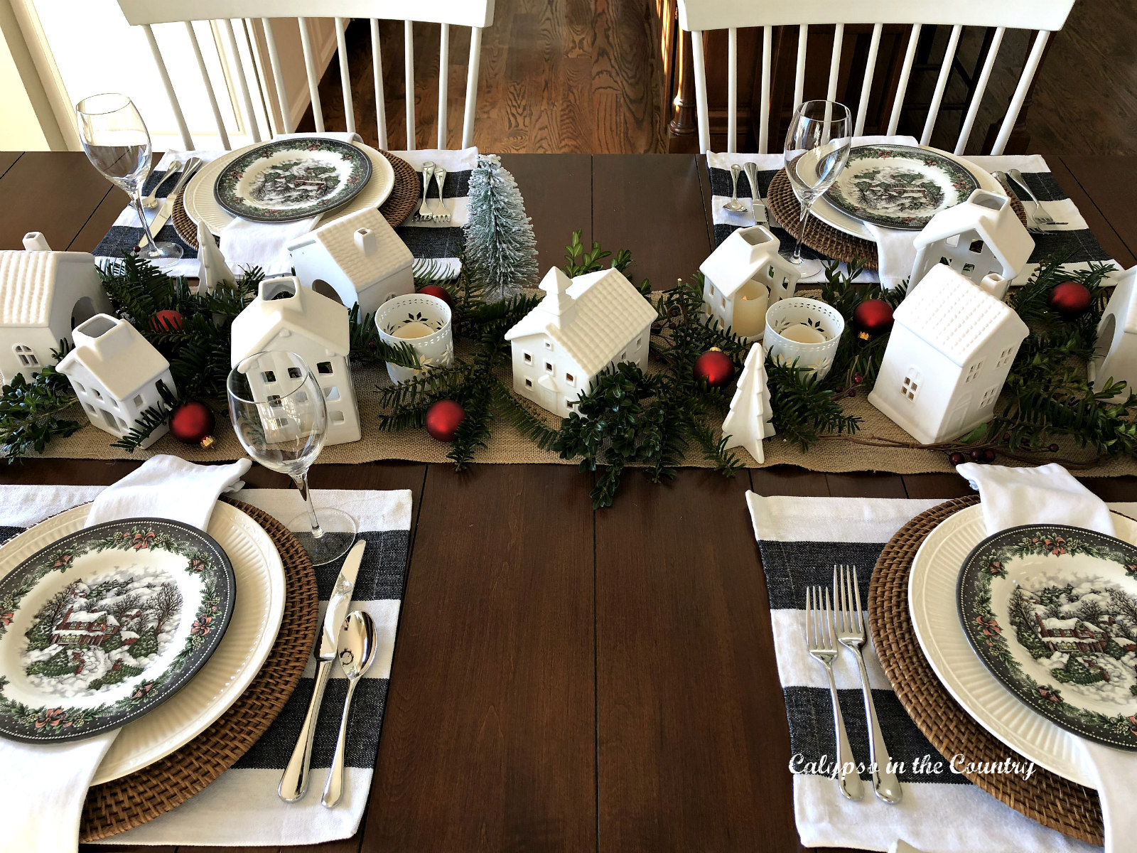 Christmas Table with White Ceramic Village