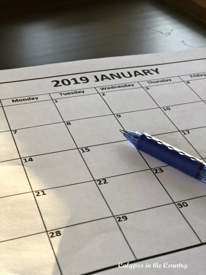 january calendar and things you can do now